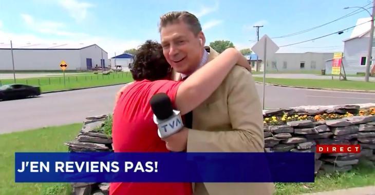 Un journaliste de TVA interrompu en direct par un jeune trisomique qui voulait lui donner un câlin