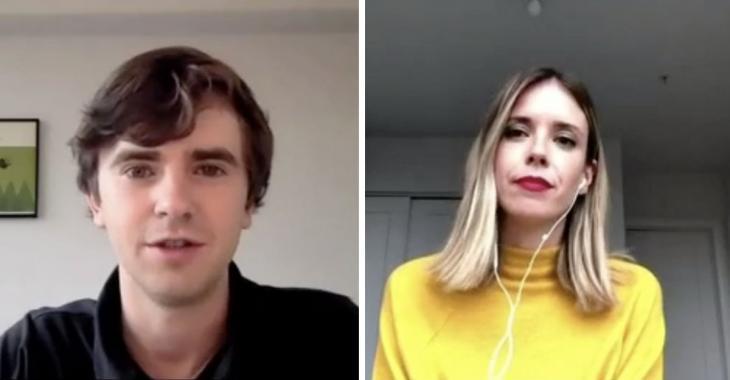 Sabrina Cournoyer rencontre Freddie Hignmore de Le bon docteur et il adresse quelques mots en français